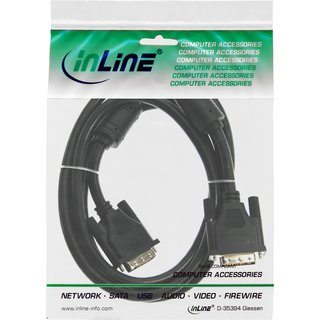 InLine® DVI-I Cable 18+5 male to male Single Link with 2 ferrite chokes 2m