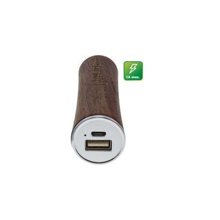 "InLine® USB PowerBank 3.000mAh ""woodpower"" with LED Display real walnut wood"