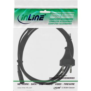 InLine® Power cable, Euro plug to Euro8 plug, black, 0.5m
